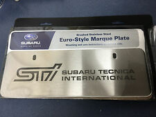 Genuine OEM Subaru Euro Style STI Marque Plate Stainless Steel SOA342L132 NEW
