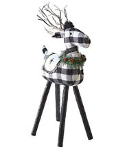 Black & White Buffalo Check Lighted Reindeer Rustic Farmhouse Country Christmas