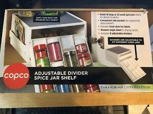Copco 16-Jar Spice Cabinet Organizer Adjustable Divider Spice Jar Shelf Rack New
