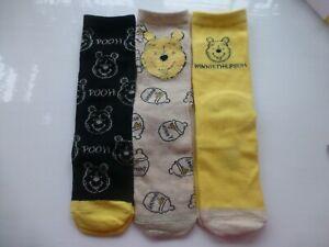Disneys Winnie The Pooh Socks (3) Three Pack Girls Ladies SIZE 4-8 New Hunny