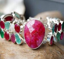 Breit Silber Armband 18 20 - 22 cm Schlicht Unikat Rubin Smaragd Aquamarin Perle