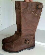 Jones Bootmaker girls brown real leather long biker boots UK size 1.5 / Eur 34