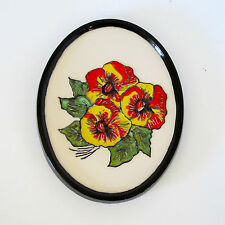Ceramic Oval Wall Plaque with Glazed Pansy Motif & Glazed Border, c.1970s