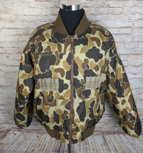 Columbia Mens XL Reversible Hunting Puffer Jacket Camo Camouflage Brown Bomber
