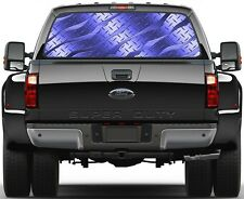 Brushed Dark Blue Diamont Plate Rear Window Graphic Decal for Truck SUV Vans