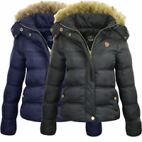 NEW Womens Quilted Winter Fur Collar Hooded Puffer Ladies Parka Jacket Coat