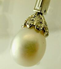 Diamond pearl 1950's 18ct statement butterfly backed earrings stunning 1.50CTS