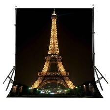 5×7ft Night Paris Eiffel Tower Photography Backdrop Photo Studio Background Prop