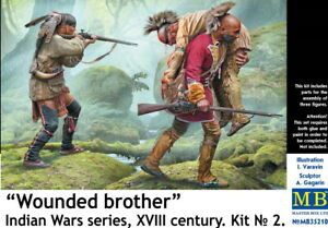 """Master Box 35210 Wounded brother"""". Indian Wars series, XVIII century 1/35"""