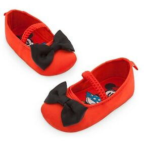 Disney Store Minnie Mouse Baby Costume Shoes w/ Bow Tie Size 0 6 Months