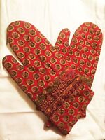 Oven Gloves Mitts Cotton padded Red quilted Kitchen Accessories Christmas Gift