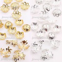 50/100 Silver/Gold Plated Metal Flower Spacer Bead Caps Jewelry Finding 14x5mm
