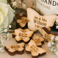 Personalised Wooden Mr & Mrs Love Butterflies Wedding Table Decoration Favour