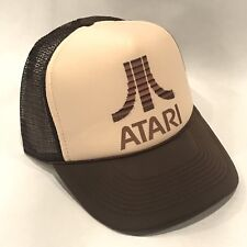 ATARI Trucker Hat Old Video Game Logo Vintage Style Snapback Cap Brown & Tan