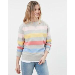 Joules Monique Crew Neck Sweatshirt - Grey Marl Stripe - Size 12 - BNWT