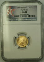 1999-W $5 Gold Eagle Coin AGE NGC MS-70 Unfinished PR Dies Emergency Issue