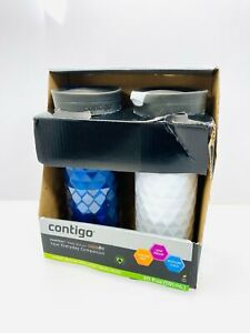 Contigo SnapSeal Kenton Travel Mugs 20 oz Polar White & Monaco 2 Pack