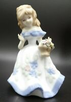 BLONDE GIRL Blue Floral Dress with Basket of Flowers Walking on a Windy Day VTG