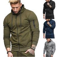 US Men Hooded Hoodie Coat Jacket Outwear Sweater Fit Jumper Zipper Pullover Tops