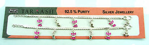 Pure 925 Solid Sterling Silver Kids Children Baby Girl Gift Anklet Payal - 1277