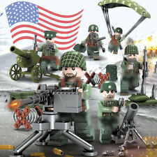 6pcs US Military Soldier Figures Building Blocks with WW2 Weapons Toys Bricks
