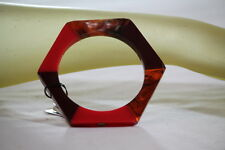 MARC BY MARC JACOBS BANGLE RED HEXAGON DESIGNER BRACELET Size M/L KS 28