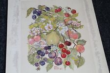 Lovely VINTAGE 1955 SIGNED Watercolor FRUIT