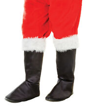 Adult Deluxe Santa Black Boot Tops Covers With Fur Trim Fancy Dress Costume
