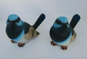 AUSTRALIAN BLUE FAIRY WREN BIRD ANIMAL GARDEN STATUE ORNAMENT SET OF 2