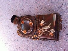 Japanese mixed metal bronze copper & silver smoking set/cigarette holder/ashtray