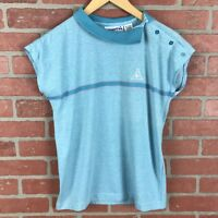 Vintage le coq sportif Womens Small Polo Turquoise Chest Stripe Made in Japan