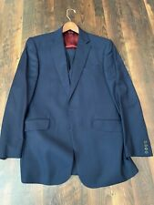 Charles Tyrwhitt Super 120s Half Canvas Blue Suit with Vest Slim fit 42 L, 34 W
