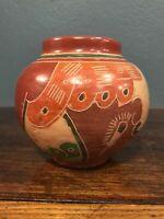 "Nicaraguan Pottery 3.5"" Round Etched Vase Brown Orange Green"