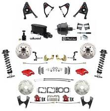 1967 69 Camaro Red Wilwood Caliper Disc Brake Kit Control Arms Adjust Coil Over