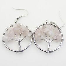 Life Reiki Chakra Silver Hook Earrings Natural Rose Quartz Chip Beads Tree of