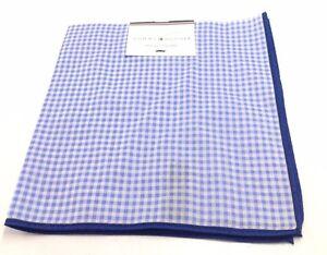 $125 Tommy Hilfiger Men`S Blue White Check Handkerchief Casual Pocket Square