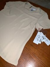 NWT Kathy che Beige Tan abstract button down Women's Petite Medium Career T-Body