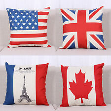 Cotton Linen Pillows Case Cushion Cover Waist Throw Flag Pattern Home Decorative