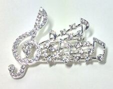 SILVER MUSICAL NOTE BROOCH / CLEAR COULORED CRYSTALS STONES / MUSIC COSTUME PIN