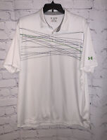 Under Armour Men's Heat Gear Polo Shirt - White w/ Blue Green Stripes - 2XL