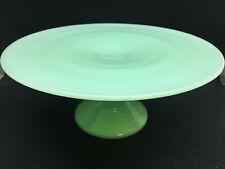 Jadeite green Glass hobnail cake wedding stand plate platter pedestal jade milk