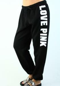 Victoria's Secret PINK Classic Sweat Pants Logo Fleece Lounge Black White NWT