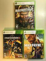 Xbox 360 Action CIB Lot - Max Payne 3, Crackdown 2 & Mercenaries 2 - 3 Games