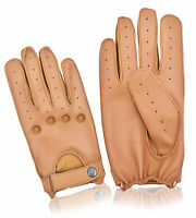 Real Leather Driving Gloves Car Bus Men's Retro Classic Button Chauffeur Fashion