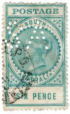 (I.B) Australia Postal : South Australia 6d (SG 300a) SA perfin