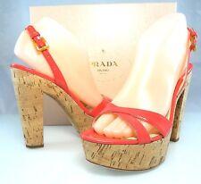 $790 PRADA CORK Platform Coral Pink Slingback Sandals Heel Womens 8 - 8.5, 38.5