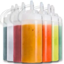 16 Oz Clear Squeeze Bottles Plastic 8 Condiment Dispenser Sauce Ketchup Mustard