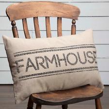 Sawyer Mill Farmhouse Pillow 14x22 charcoal grey, chocolate, creme striped back