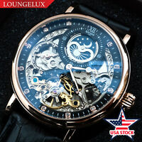 Mens Dual Time Flywheel Automatic Mechanical Watch Rose Gold Black Dial USA Ship