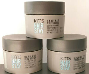 30ml of KMS Hair Stay Hard Wax Finish travel size - 10ml pots x 3